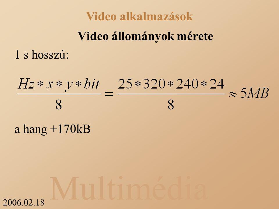 2006.02.18 Multimédia Video állományok mérete 1 s hosszú: a hang +170kB Video alkalmazások