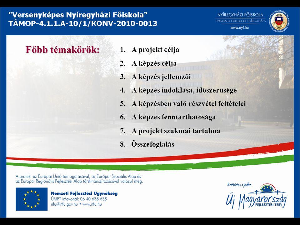 1.A projekt célja 2.A képzés célja 3.A képzés jellemzői 4.A képzés indoklása, időszerűsége 5.A képzésben való részvétel feltételei 6.A képzés fenntart