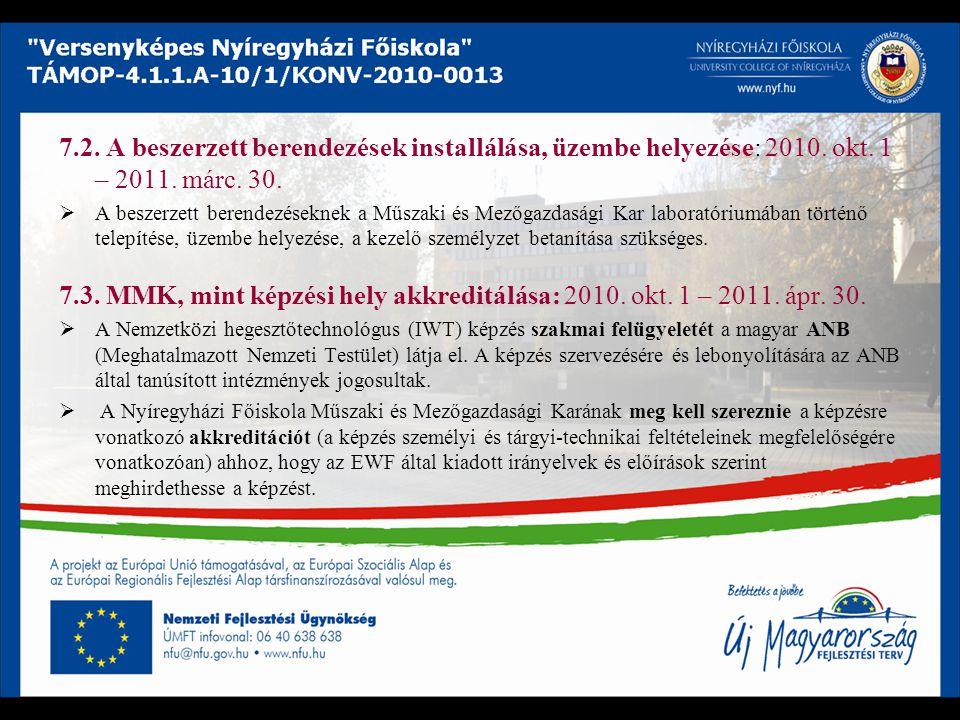 7.2. A beszerzett berendezések installálása, üzembe helyezése: 2010. okt. 1 – 2011. márc. 30.  A beszerzett berendezéseknek a Műszaki és Mezőgazdaság