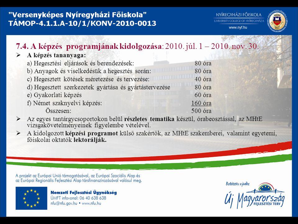7.4. A képzés programjának kidolgozása: 2010. júl. 1 – 2010. nov. 30.  A képzés tananyaga: a) Hegesztési eljárások és berendezések: 80 óra b) Anyagok