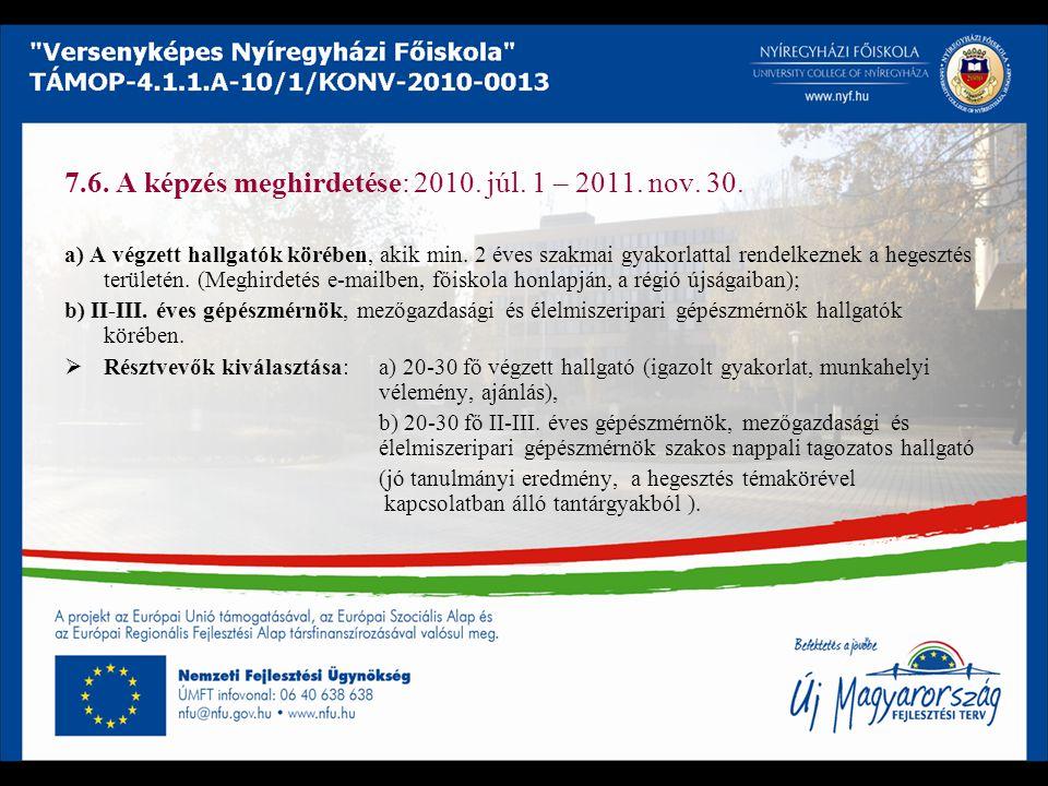 7.6. A képzés meghirdetése: 2010. júl. 1 – 2011. nov. 30. a) A végzett hallgatók körében, akik min. 2 éves szakmai gyakorlattal rendelkeznek a hegeszt