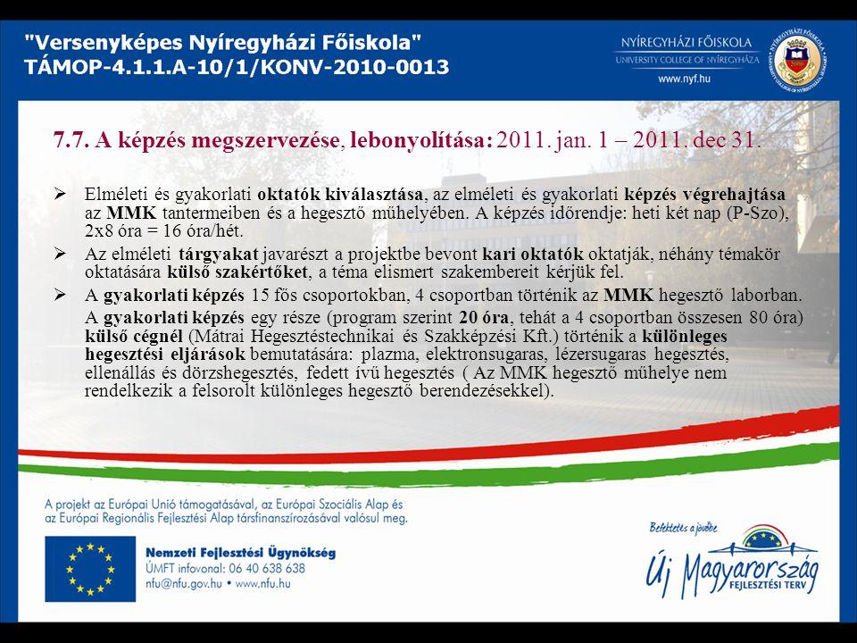 7.7. A képzés megszervezése, lebonyolítása: 2011. jan. 1 – 2011. dec 31.  Elméleti és gyakorlati oktatók kiválasztása, az elméleti és gyakorlati képz