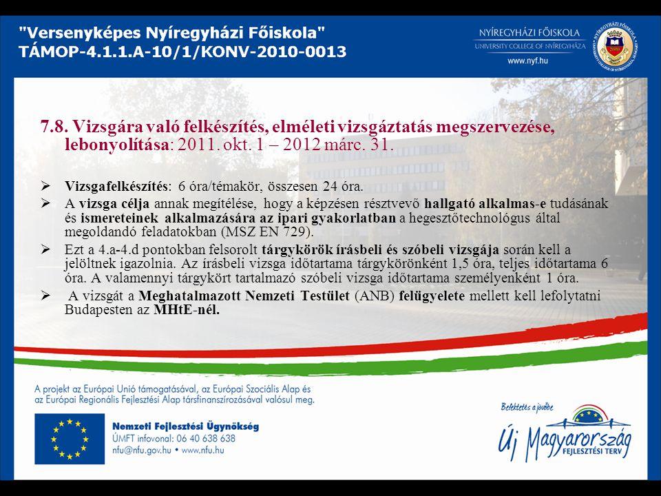 7.8. Vizsgára való felkészítés, elméleti vizsgáztatás megszervezése, lebonyolítása: 2011. okt. 1 – 2012 márc. 31.  Vizsgafelkészítés: 6 óra/témakör,