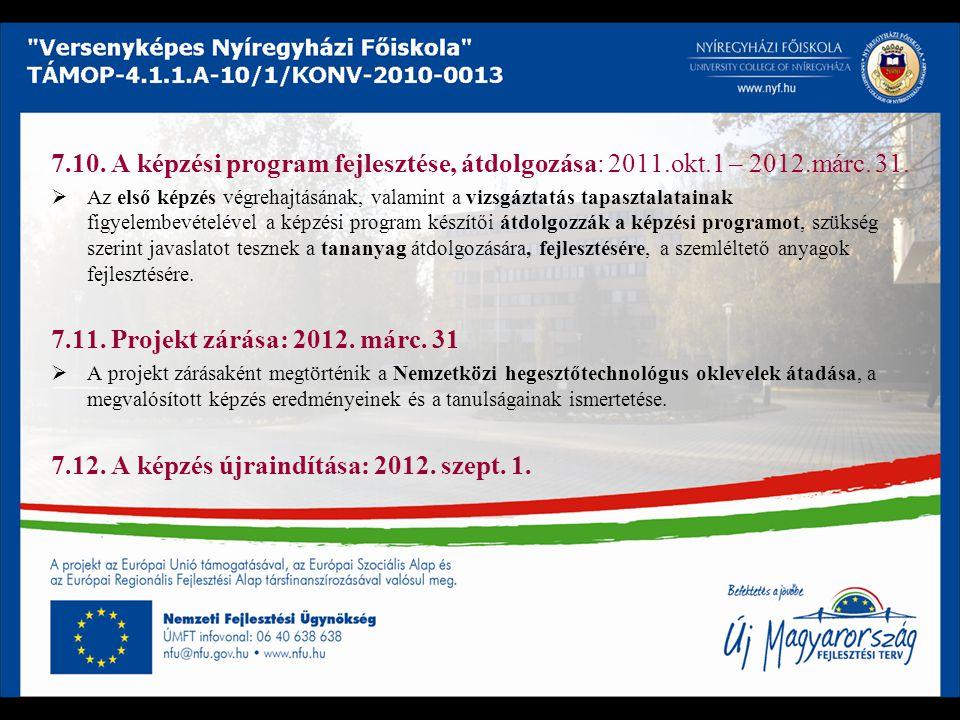 7.10. A képzési program fejlesztése, átdolgozása: 2011.okt.1 – 2012.márc. 31.  Az első képzés végrehajtásának, valamint a vizsgáztatás tapasztalatain