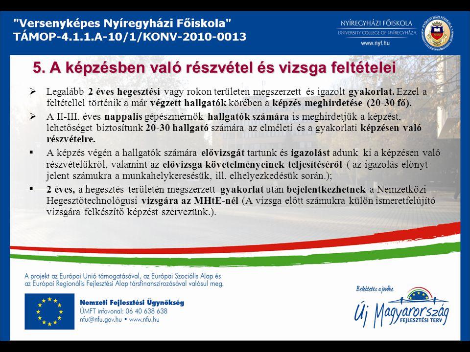 7.10.A képzési program fejlesztése, átdolgozása: 2011.okt.1 – 2012.márc.