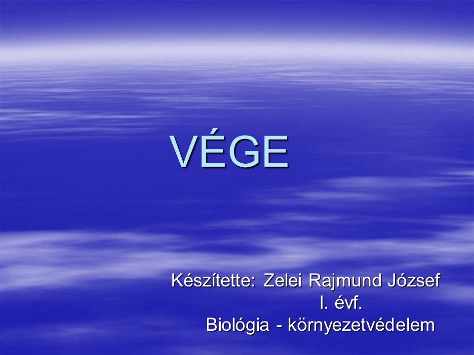 VÉGE Készítette: Zelei Rajmund József Készítette: Zelei Rajmund József I. évf. I. évf. Biológia - környezetvédelem Biológia - környezetvédelem