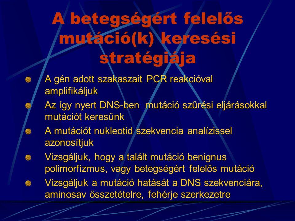 Mutáció szűrési eljárások DGGE: Denaturáló grádiens gél elektroforézise TGGE: Hőmérséklet grádiens gél elektroforézise SSCP: Egyszálú DNS konformációs változatai Heteroduplex analízis CFLP:Heteroduplexek vágása 1.Kémiai módszerrel történő vágás 2.Enzimatikus módszerrel történő vágás 3.Speciális enzimmel történő vágás Mismatch binding proteinek kötődésén alapuló eljárás PTT