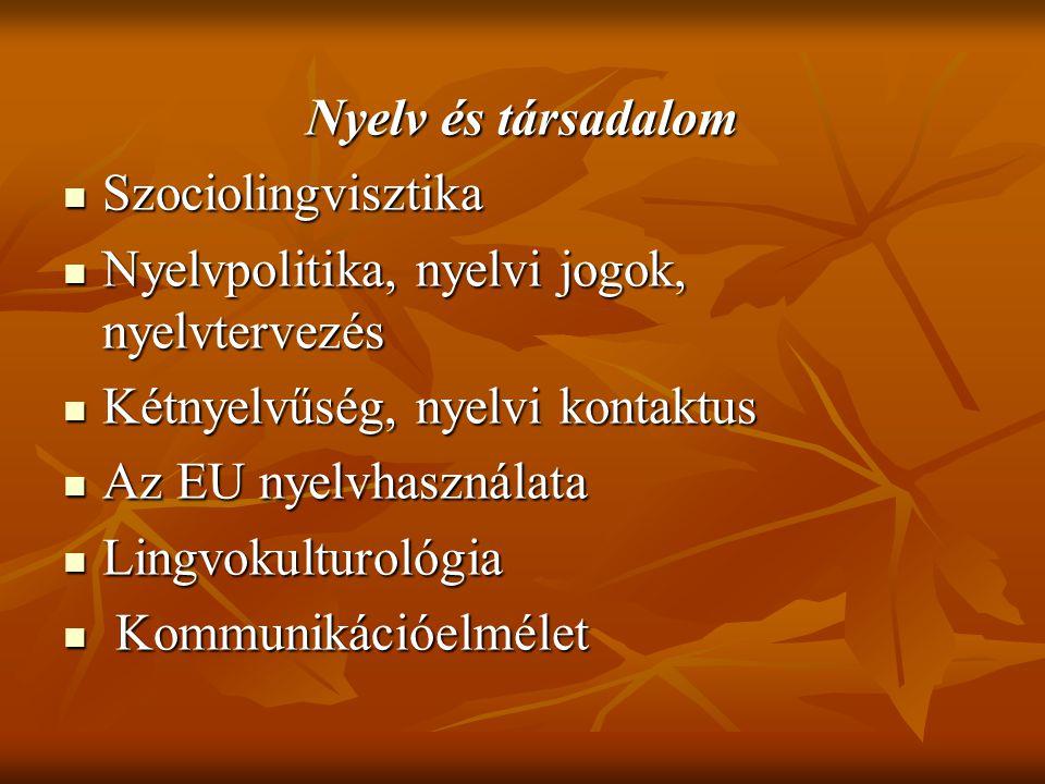 Nyelv és társadalom Szociolingvisztika Szociolingvisztika Nyelvpolitika, nyelvi jogok, nyelvtervezés Nyelvpolitika, nyelvi jogok, nyelvtervezés Kétnyelvűség, nyelvi kontaktus Kétnyelvűség, nyelvi kontaktus Az EU nyelvhasználata Az EU nyelvhasználata Lingvokulturológia Lingvokulturológia Kommunikációelmélet Kommunikációelmélet