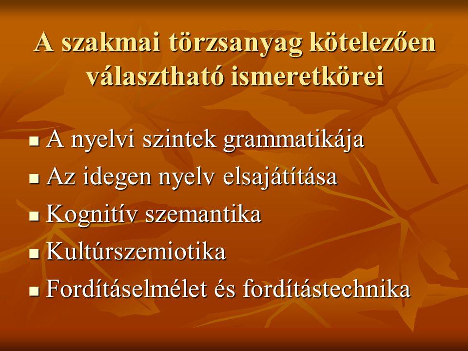 A szakmai törzsanyag kötelezően választható ismeretkörei A nyelvi szintek grammatikája A nyelvi szintek grammatikája Az idegen nyelv elsajátítása Az idegen nyelv elsajátítása Kognitív szemantika Kognitív szemantika Kultúrszemiotika Kultúrszemiotika Fordításelmélet és fordítástechnika Fordításelmélet és fordítástechnika