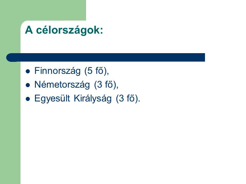 A célországok: Finnország (5 fő), Németország (3 fő), Egyesült Királyság (3 fő).