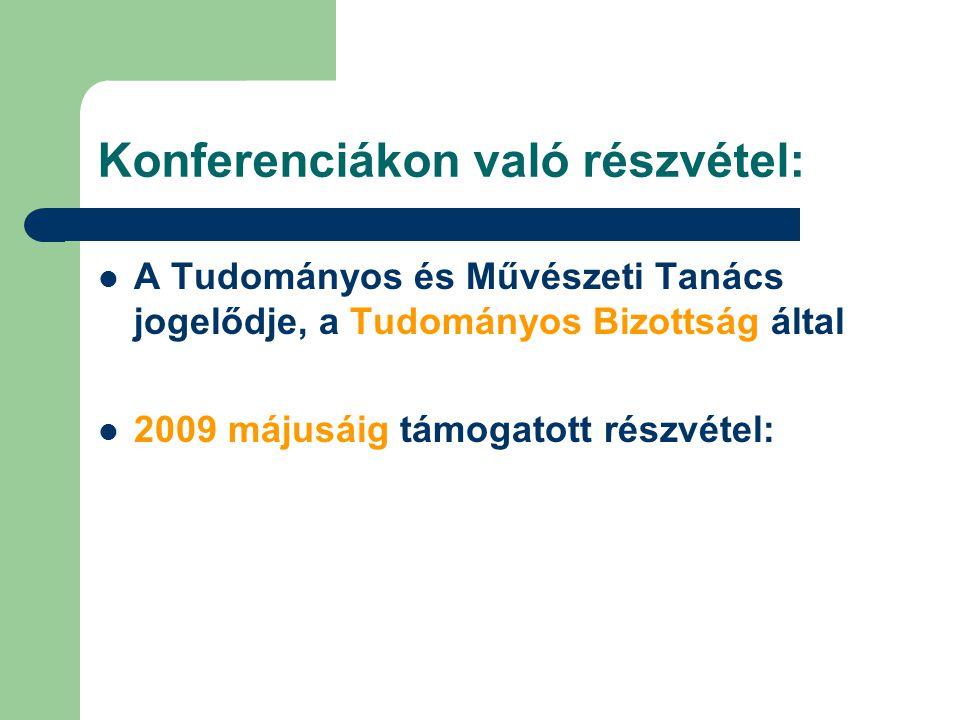 Konferenciákon való részvétel: A Tudományos és Művészeti Tanács jogelődje, a Tudományos Bizottság által 2009 májusáig támogatott részvétel:
