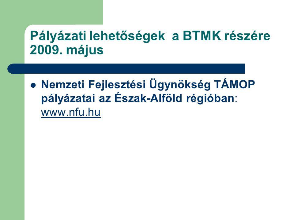 Pályázati lehetőségek a BTMK részére 2009.