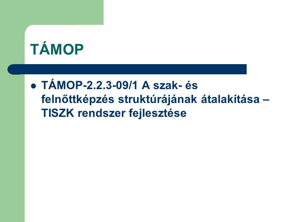 TÁMOP TÁMOP-2.2.3-09/1 A szak- és felnőttképzés struktúrájának átalakítása – TISZK rendszer fejlesztése