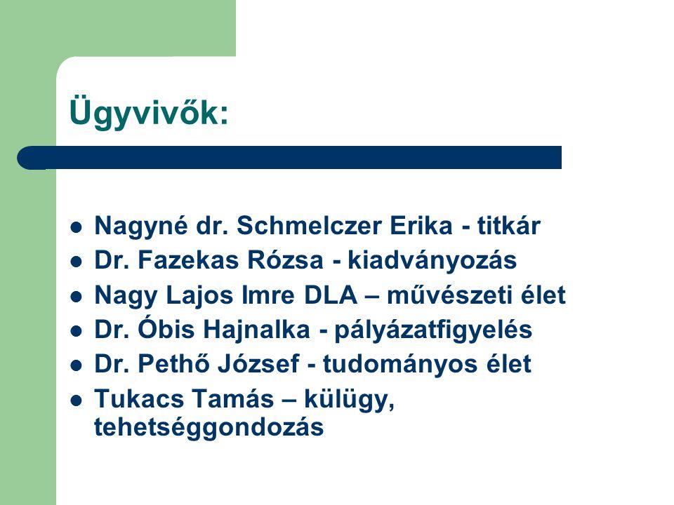 Ügyvivők: Nagyné dr. Schmelczer Erika - titkár Dr.