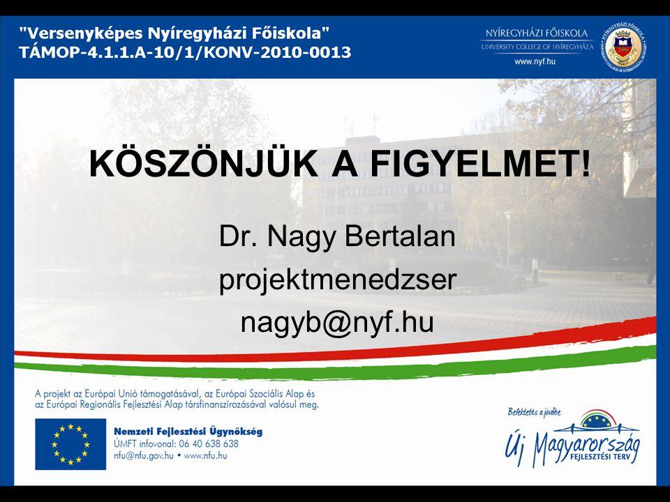 KÖSZÖNJÜK A FIGYELMET! Dr. Nagy Bertalan projektmenedzser nagyb@nyf.hu