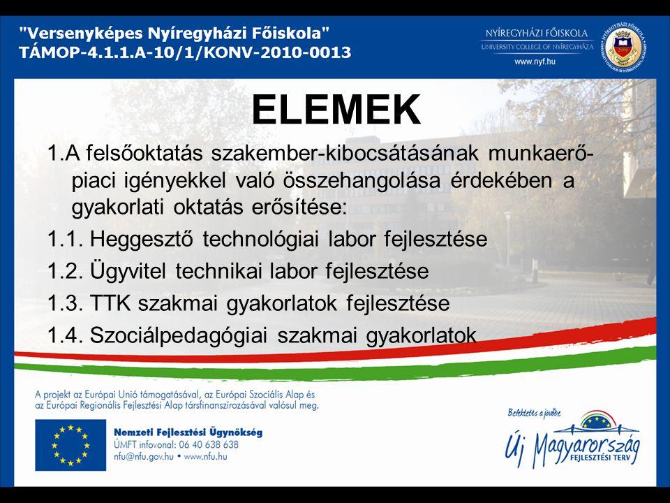 ELEMEK 1.A felsőoktatás szakember-kibocsátásának munkaerő- piaci igényekkel való összehangolása érdekében a gyakorlati oktatás erősítése: 1.1.