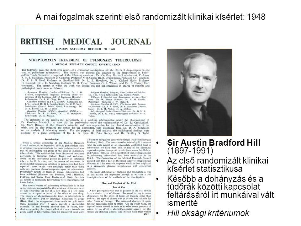A mai fogalmak szerinti első randomizált klinikai kísérlet: 1948 Sir Austin Bradford Hill (1897-1991) Az első randomizált klinikai kísérlet statisztik
