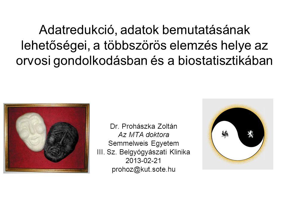 Adatredukció, adatok bemutatásának lehetőségei, a többszörös elemzés helye az orvosi gondolkodásban és a biostatisztikában Dr. Prohászka Zoltán Az MTA