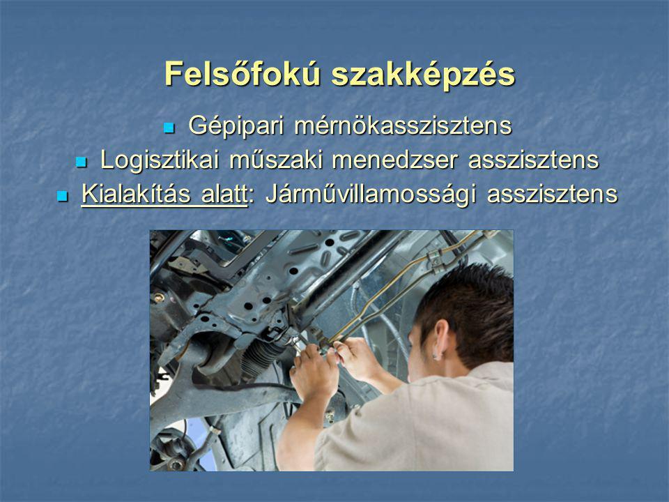 Gépipari mérnökasszisztens Gépipari mérnökasszisztens Logisztikai műszaki menedzser asszisztens Logisztikai műszaki menedzser asszisztens Kialakítás a