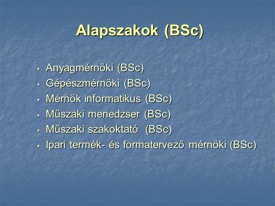 Anyagmérnöki (BSc) Anyagmérnöki (BSc) Gépészmérnöki (BSc) Gépészmérnöki (BSc) Mérnök informatikus (BSc) Mérnök informatikus (BSc) Műszaki menedzser (B
