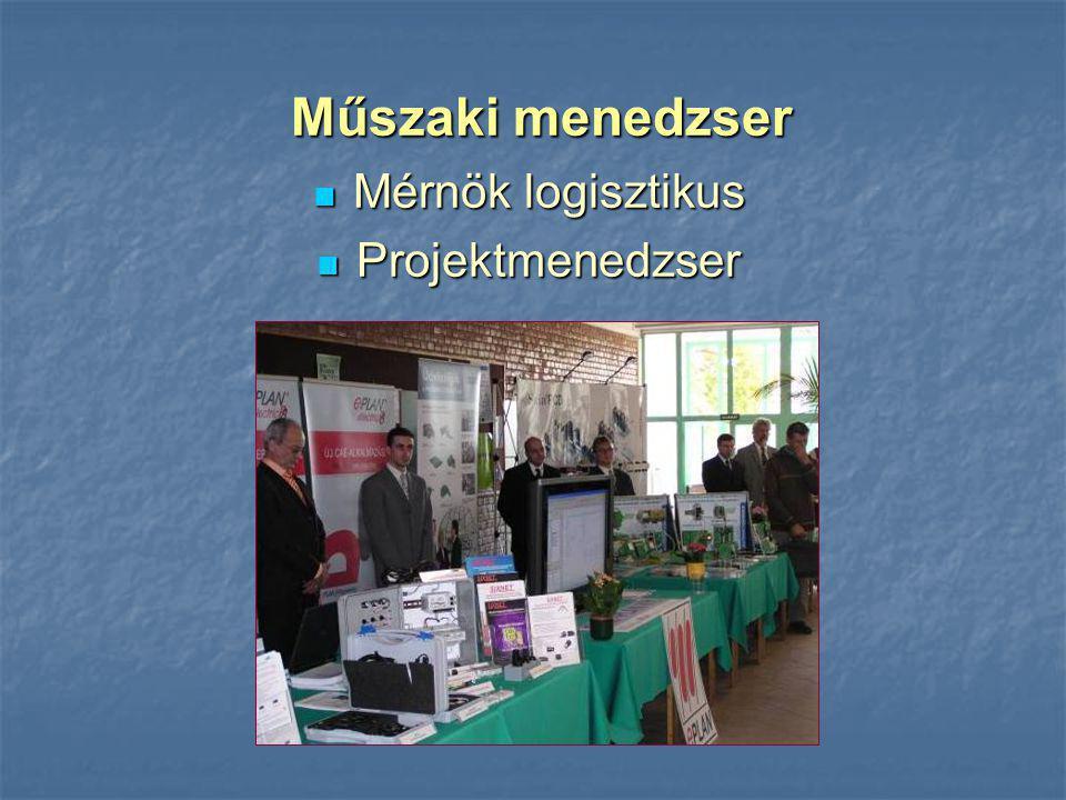 Mérnök logisztikus Mérnök logisztikus Projektmenedzser Projektmenedzser Műszaki menedzser