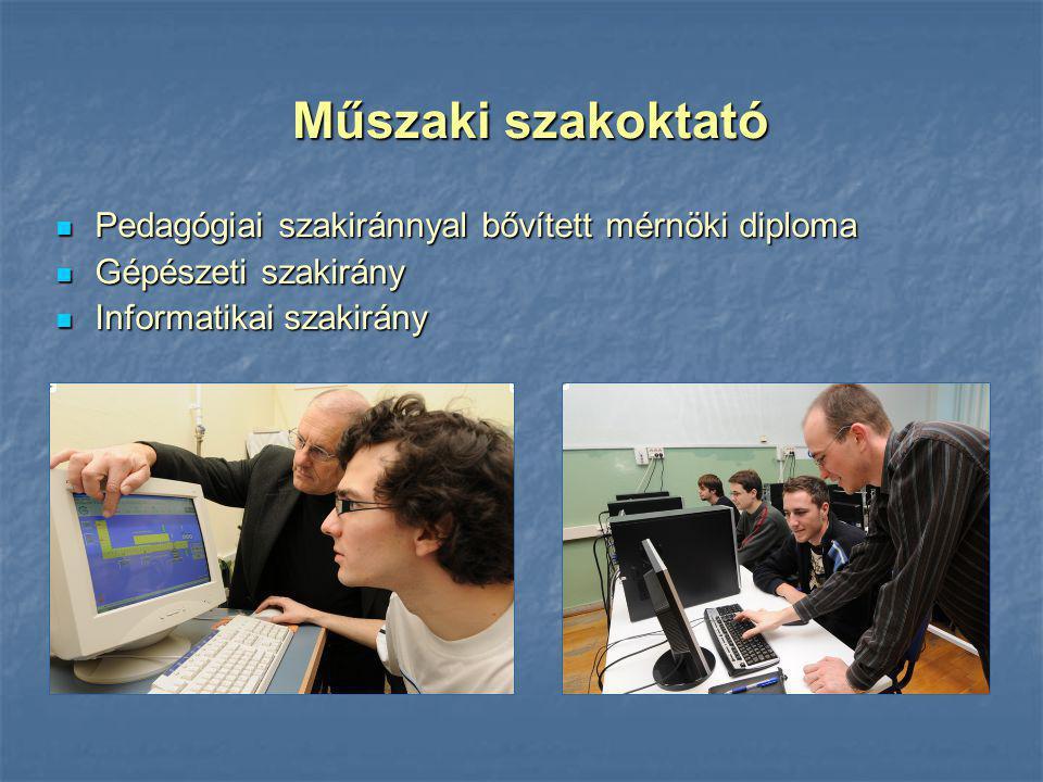 Pedagógiai szakiránnyal bővített mérnöki diploma Pedagógiai szakiránnyal bővített mérnöki diploma Gépészeti szakirány Gépészeti szakirány Informatikai