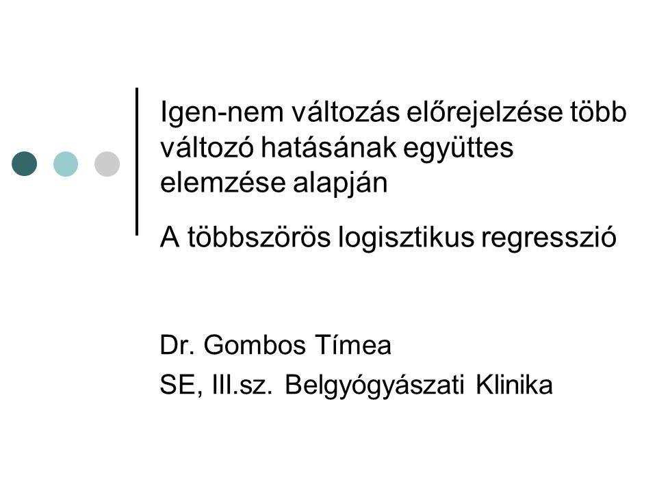 Igen-nem változás előrejelzése több változó hatásának együttes elemzése alapján A többszörös logisztikus regresszió Dr. Gombos Tímea SE, III.sz. Belgy