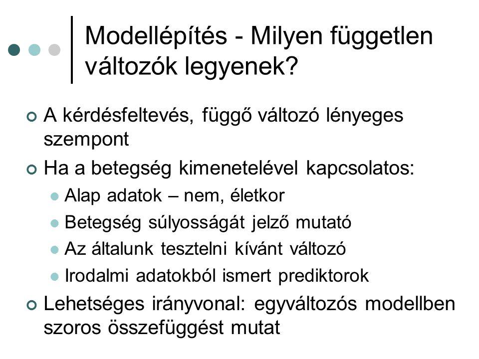 Modellépítés - Milyen független változók legyenek? A kérdésfeltevés, függő változó lényeges szempont Ha a betegség kimenetelével kapcsolatos: Alap ada