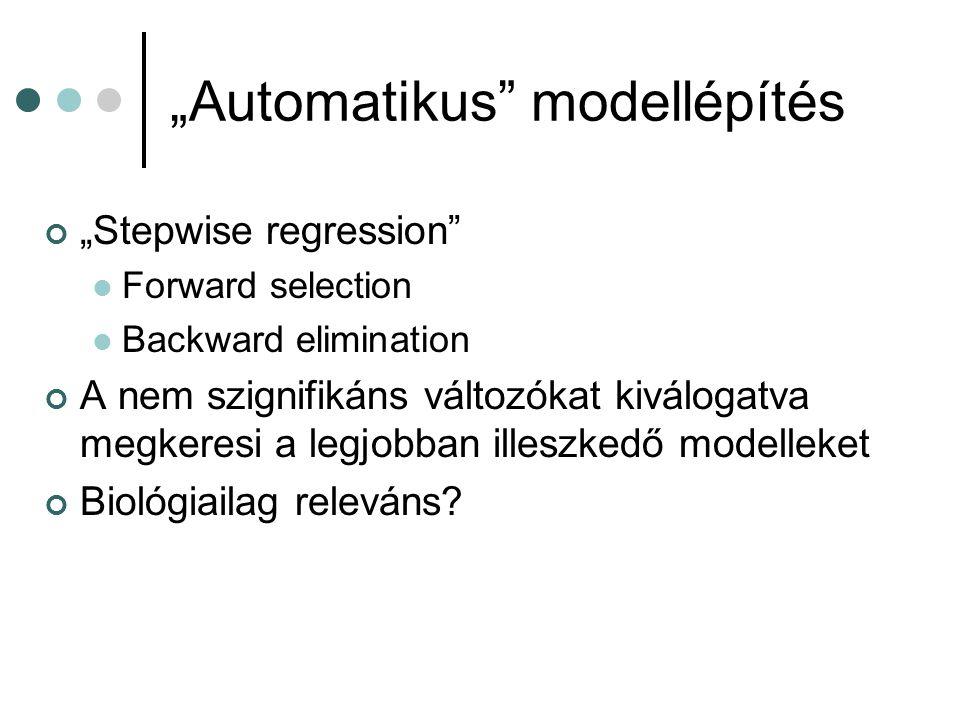 """""""Automatikus"""" modellépítés """"Stepwise regression"""" Forward selection Backward elimination A nem szignifikáns változókat kiválogatva megkeresi a legjobba"""