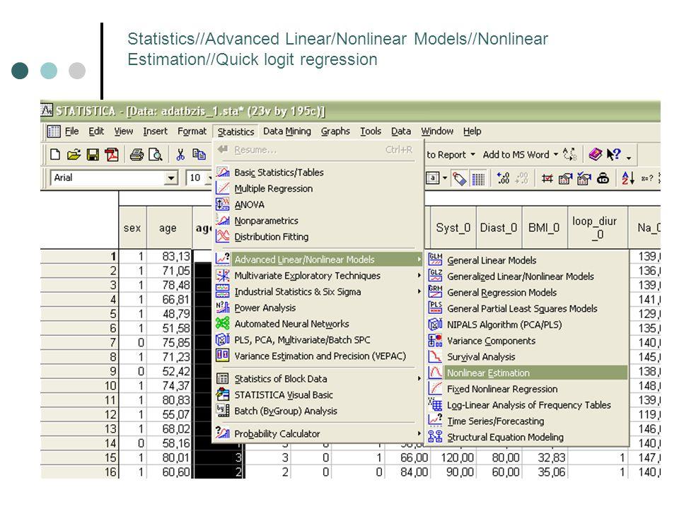 Statistics//Advanced Linear/Nonlinear Models//Nonlinear Estimation//Quick logit regression