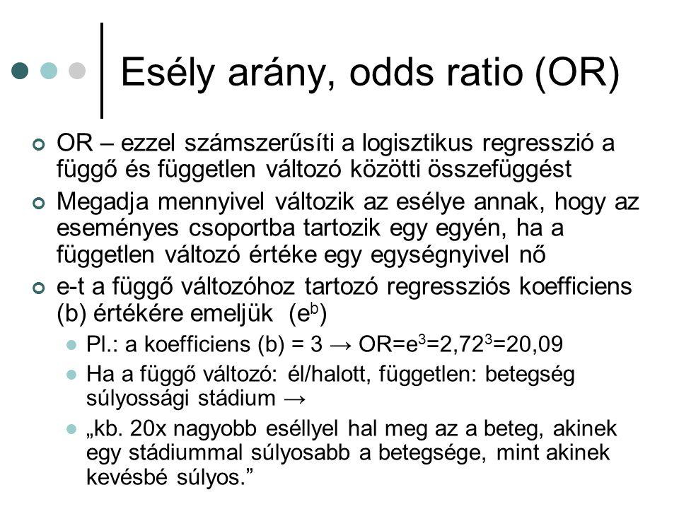Esély arány, odds ratio (OR) OR – ezzel számszerűsíti a logisztikus regresszió a függő és független változó közötti összefüggést Megadja mennyivel vál