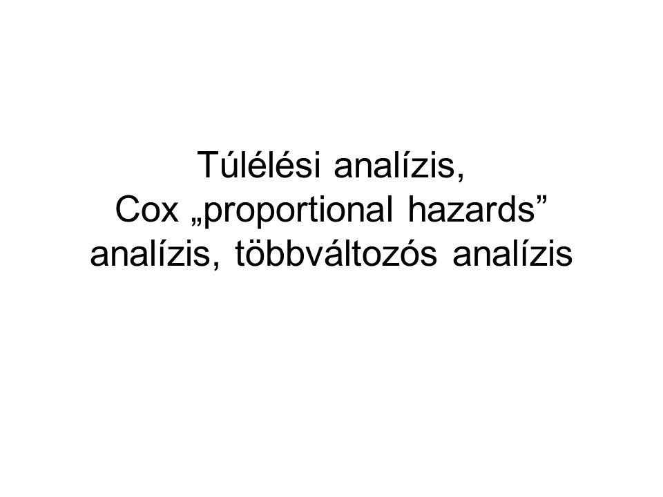 """Túlélési analízis, Cox """"proportional hazards analízis, többváltozós analízis"""