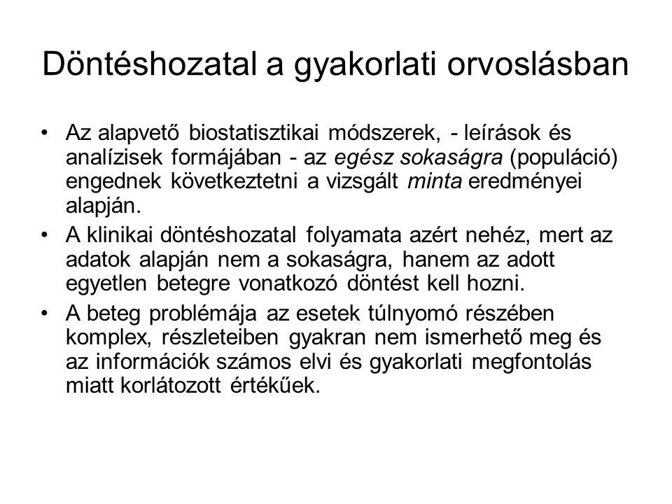 Döntéshozatal a gyakorlati orvoslásban Az alapvető biostatisztikai módszerek, - leírások és analízisek formájában - az egész sokaságra (populáció) eng