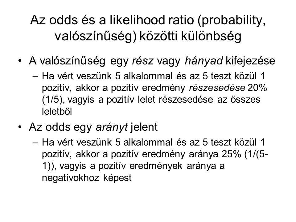 Az odds és a likelihood ratio (probability, valószínűség) közötti különbség A valószínűség egy rész vagy hányad kifejezése –Ha vért veszünk 5 alkalomm
