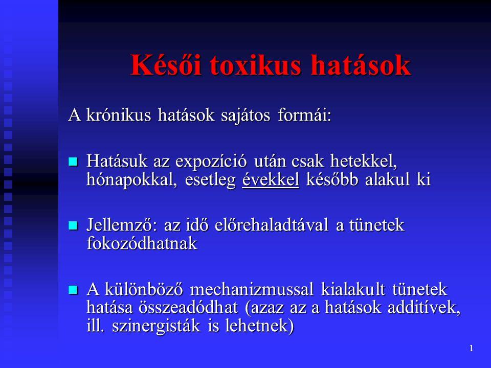 """2 A késői toxikus hatások típusai genetikai állományra ható (genotoxikus) genetikai állományra ható (genotoxikus) daganatkeltő (karcinogén) daganatkeltő (karcinogén) utódokat károsító (teratogén) utódokat károsító (teratogén) immunrendszert károsító (immuntoxikus) immunrendszert károsító (immuntoxikus) idegrendszert károsító (neurotoxikus) idegrendszert károsító (neurotoxikus) endokrin rendszert befolyásoló (""""endokrin disruptor ) endokrin rendszert befolyásoló (""""endokrin disruptor ) Szerv-specificitás: Szerv-specificitás: kardio-, nefro-, hepato-, neurotoxikus hatások"""