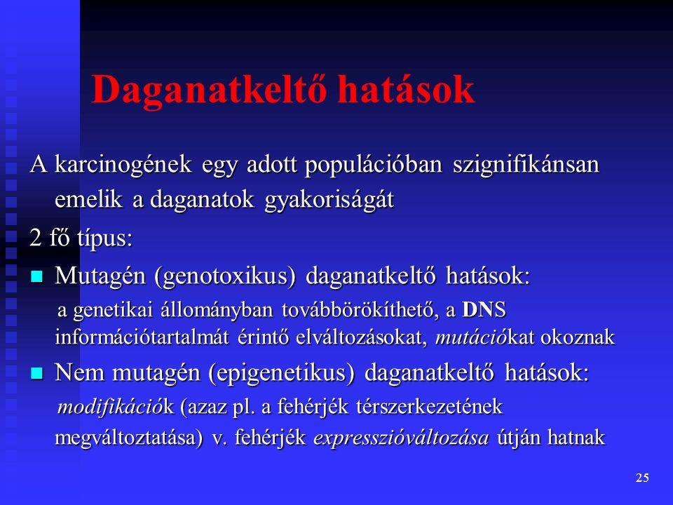 26 mutagén karcinogének: mutagén karcinogének: megváltoztatják a genotípust megváltoztatják a genotípust · típusos mutagén karcinogének az iniciátorok · hatásuk sztochasztikus, küszöbdózisuk nincs · a mutagén karcinogének MINDIG géntoxikusak Karcinogén hatások