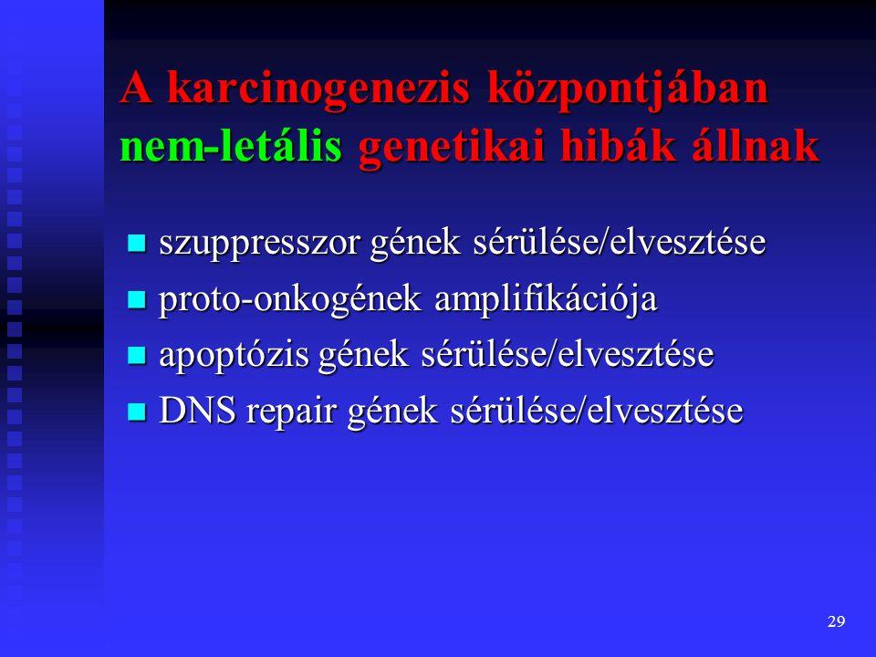 30 direkt ható karcinogének: direkt ható karcinogének:  alkilálószrek: Cyclophosphamide indirekt ható karcinogének: prokarcinogének indirekt ható karcinogének: prokarcinogének az anyag metabolitja karcinogén: aktváció szükséges (ultimate carcinogen)  Policiklikus szénhidrogének – benzpirán  Aromás aminok, festékek – benzidin  Természetes anyagok: pl.