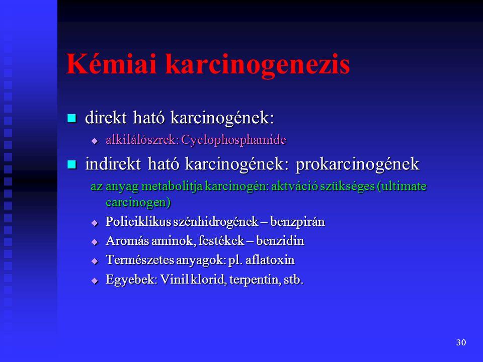 31 Kémiai karcinogenezis: Iniciáció Iniciáció  DNS hiba (pl.