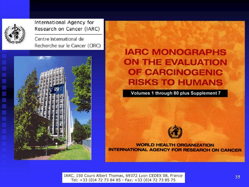 36 A daganat-kialakulás kockázatának becslése Ismert daganatkeltők listája: az ENSZ Nemzetközi Rákkutató Ügynöksége (IARC) rendszeresen összeállítja, ill.