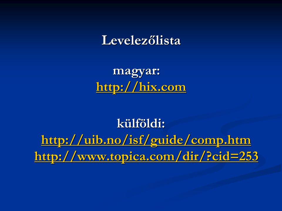 Levelezőlista magyar: http://hix.com külföldi: http://uib.no/isf/guide/comp.htm http://www.topica.com/dir/ cid=253 http://hix.comhttp://uib.no/isf/guide/comp.htmhttp://www.topica.com/dir/ cid=253 http://hix.comhttp://uib.no/isf/guide/comp.htmhttp://www.topica.com/dir/ cid=253