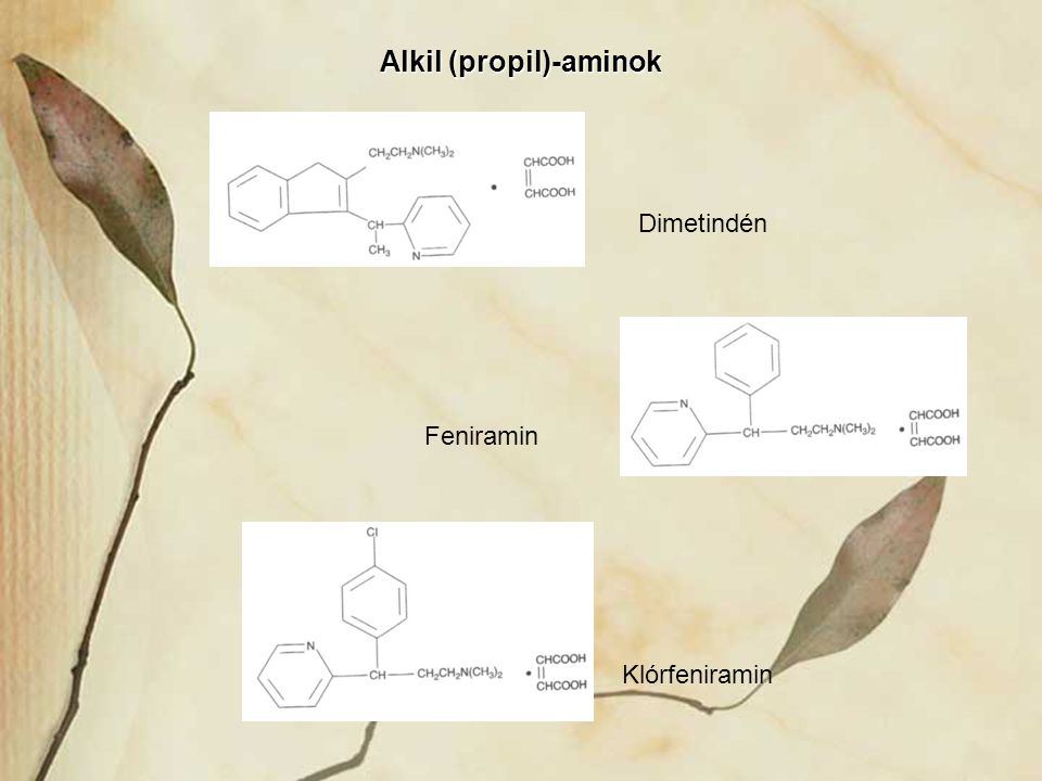 Alkil (propil)-aminok Feniramin Dimetindén Klórfeniramin