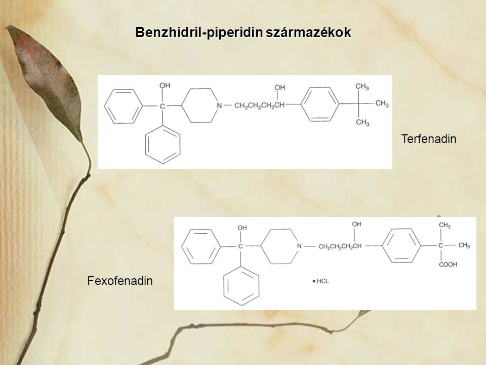 Benzhidril-piperidin származékok Terfenadin Fexofenadin