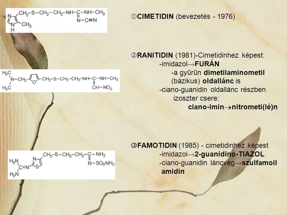  CIMETIDIN (bevezetés - 1976)  RANITIDIN (1981)-Cimetidinhez képest: -imidazol  FURÁN -a gyűrűn dimetilaminometil (bázikus) oldallánc is -ciano-gua
