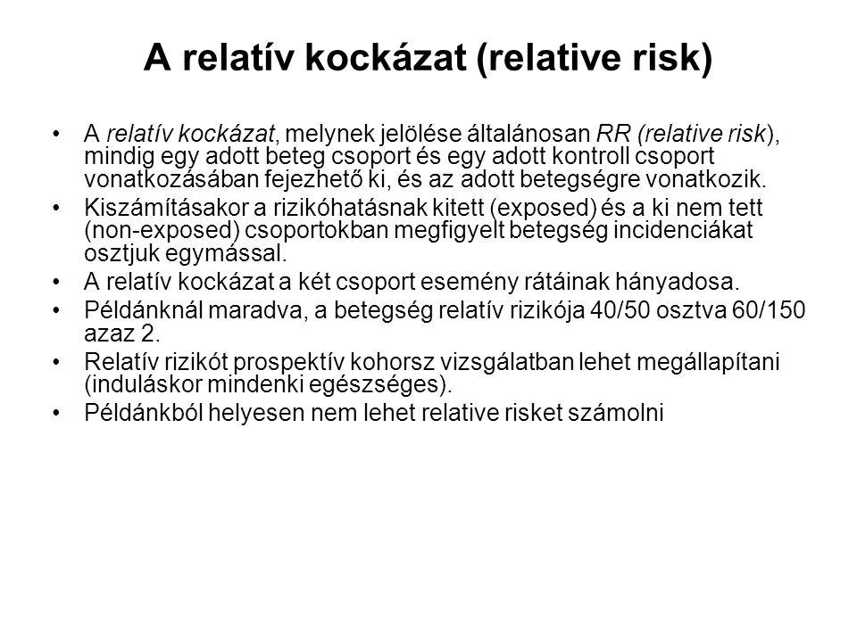 A relatív kockázat (relative risk) A relatív kockázat, melynek jelölése általánosan RR (relative risk), mindig egy adott beteg csoport és egy adott ko