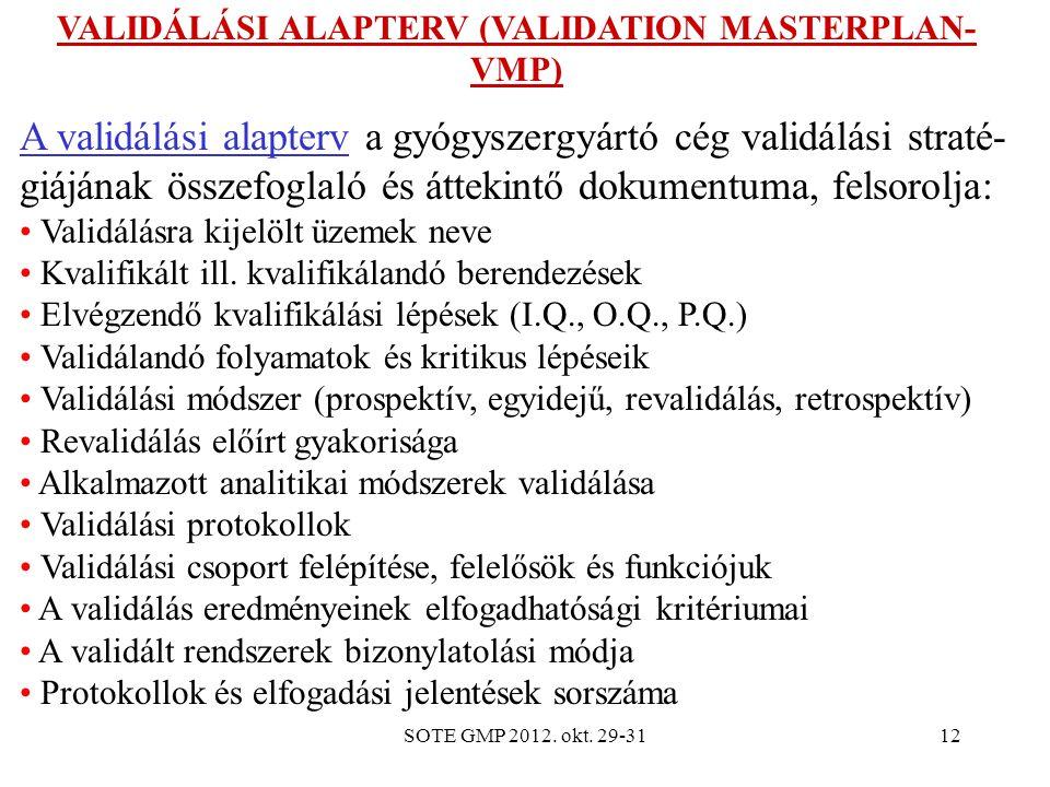SOTE GMP 2012. okt. 29-3112 VALIDÁLÁSI ALAPTERV (VALIDATION MASTERPLAN- VMP) A validálási alapterv a gyógyszergyártó cég validálási straté- giájának ö