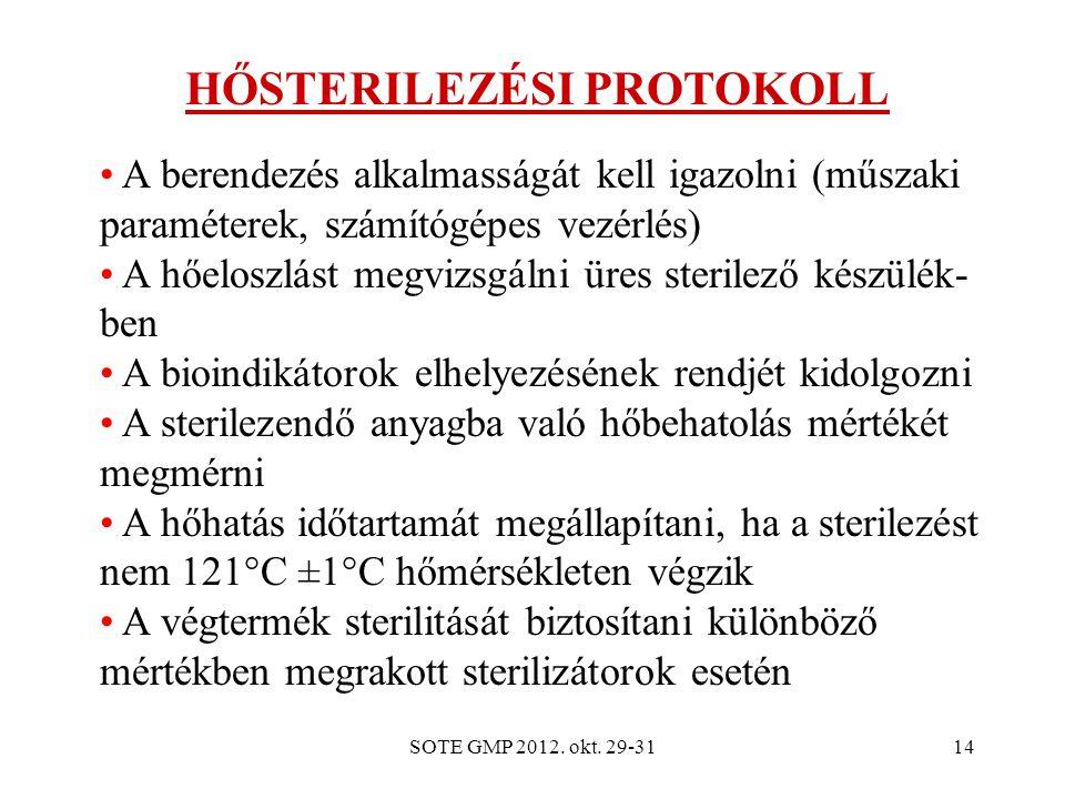 SOTE GMP 2012. okt. 29-3114 HŐSTERILEZÉSI PROTOKOLL A berendezés alkalmasságát kell igazolni (műszaki paraméterek, számítógépes vezérlés) A hőeloszlás