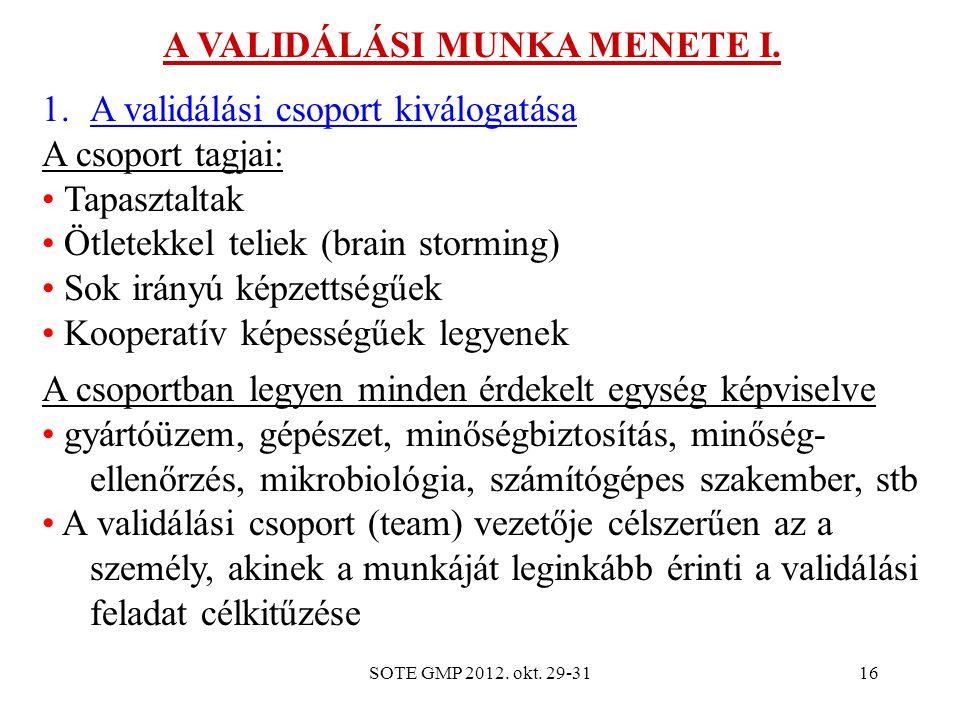 SOTE GMP 2012. okt. 29-3116 A VALIDÁLÁSI MUNKA MENETE I. 1.A validálási csoport kiválogatása A csoport tagjai: Tapasztaltak Ötletekkel teliek (brain s