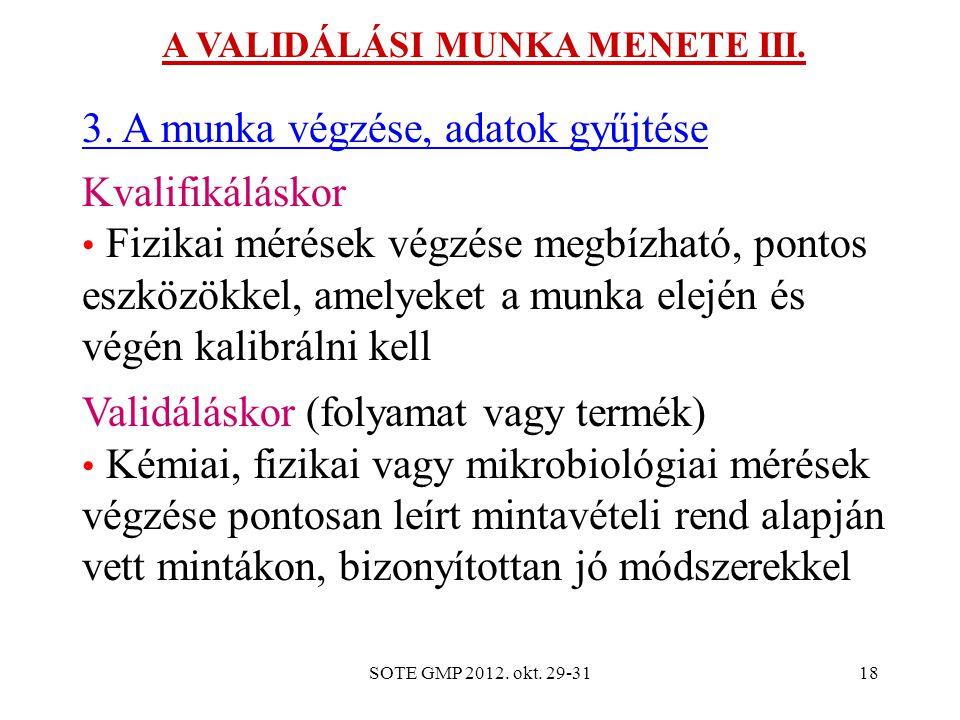 SOTE GMP 2012. okt. 29-3118 A VALIDÁLÁSI MUNKA MENETE III. 3. A munka végzése, adatok gyűjtése Kvalifikáláskor Fizikai mérések végzése megbízható, pon