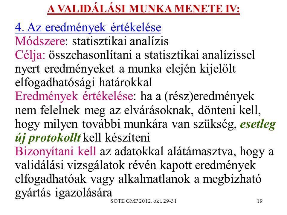 SOTE GMP 2012. okt. 29-3119 A VALIDÁLÁSI MUNKA MENETE IV: 4. Az eredmények értékelése Módszere: statisztikai analízis Célja: összehasonlítani a statis