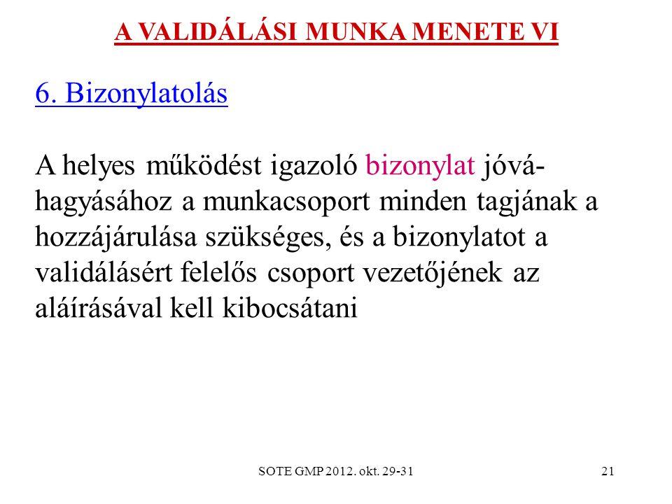 SOTE GMP 2012.okt. 29-3121 A VALIDÁLÁSI MUNKA MENETE VI 6.